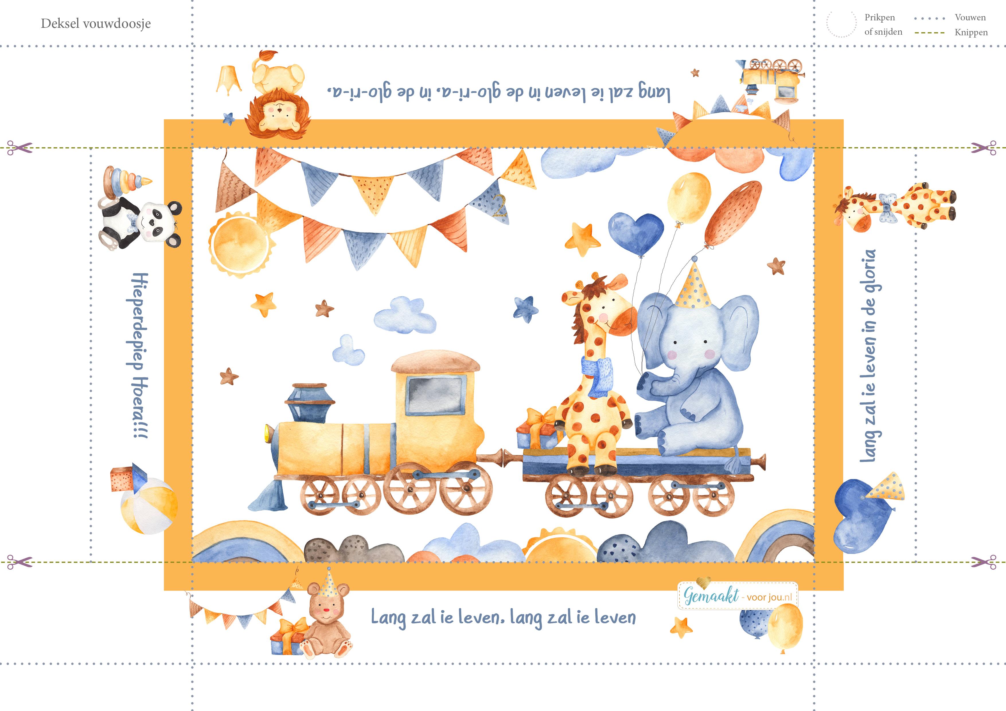 Dessin verjaardag Bovenkant doosje kind